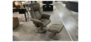 Dubai Khaki Accent Fabric Armchair With Wooden Legs And Footstool Available In A Range Of Colours - Call For More Info