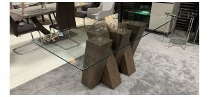 Glass Top 1.8m Dining Table With Walnut Finish Base - Fine Scratches(See Images) - Ex-Display Showroom Model 47436