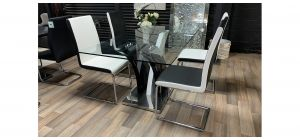 Glass Top 1.6m Dining Table With Chrome Base And 4 Black And White Bonded Leather Chairs(W45Xd50Xh100Cm) With Chrome Legs - Fine Scratches(See Images) - Ex-Display Showroom Model 47437
