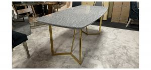 Grey And Gold 1.8m Marble Effect Dining Table - Fine Scratches(See Images) - Ex-Display Showroom Model 47439