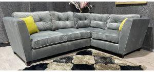 Canterbury Grey RHF Fabric Corner Sofa With Wooden Legs - Few Scuffs (see images) Ex-Display Showroom Model 47453