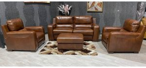 Lucca Brown Leather 3 + 1 + 1 Electric Recliner Set With Footstool Sisi Italia Semi-Aniline With Wooden Legs Ex-Display Showroom Model 47455