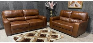Lucca Brown Leather 3 + 2 Sofa Set Sisi Italia Semi-Aniline With Wooden Legs Ex-Display Showroom Model 47456
