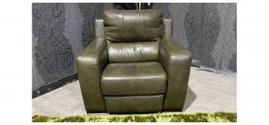 Lucca Green Leather Armchair Electric Recliner Sisi Italia Semi-Aniline With Wooden Legs Ex-Display Showroom Model 47457