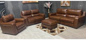 Lucca Brown Leather 4 + 2 + 1 Electric Recliner Set + Footstool Sisi Italia Semi-Aniline With Wooden Legs Ex-Display Showroom Model 47463