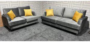 Orson Grey Velvet 3 + 2 Sofa Set Ex-Display Showroom Model 47464