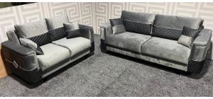 Grey Velvet 3 Seater Sofa Bed + 2 Seater Sofa Bed Ex-Display Showroom Model 47465