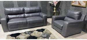 Lucca Grey Static 3 Seater + Electric Recliner Armchair Sisi Italia Semi-Aniline Leather With Wooden Legs Ex-Display Showroom Model 47466