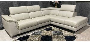 London Taupe Grey RHF Leather Corner Sofa Electric Recliner Adjustable Headrests With Chrome Legs Ex-Display Showroom Model 47467
