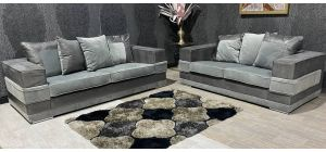 Kudos Grey Fabric 3 + 2 Sofa Set With Chrome Legs Ex-Display Showroom Model 47468