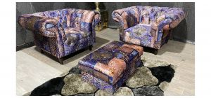 Anna Shout Patterned Fabric 1 + 1 + Storage Footstool With Wooden Legs Ex-Display Showroom Model 47469