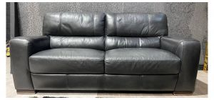Lucca Black Large Leather Sofa Sisi Italia Semi-Aniline With Wooden Legs Ex-Display Showroom Model 47471