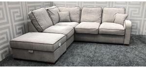Hula Beige LHF Fabric Corner Sofa With Storage Footstool And Wooden Legs - Slight Mark On Footstool (see images) Ex-Display Showroom Model 47472