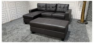 Brown LHF or RHF Bonded Leather Corner Sofa With Large Storage Footstool(120x60x45cm) - Few Scuffs (see images) Ex-Display Showroom Model 47474