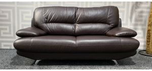 Brown Bonded Leather Large Sofa With Chrome Legs - Scuff On Top Corners (see images) Ex-Display Showroom Model 47487