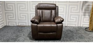 Brown Leathaire Manual Recliner Rocking And Swivel Armchair Ex-Display Showroom Model 47489
