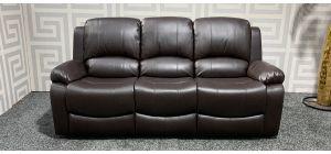Brown Bonded Leather Large Sofa Manual Recliner Ex-Display Showroom Model 47492