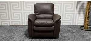 Relax Brown Leather Armchair Manual Recliner Ex-Display Showroom Model 47495