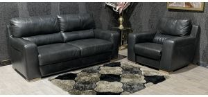 Lucca Dark Grey Static 3 Seater Sofa With Electric Recliner Armchair Sisi Italia Semi-Aniline With Wooden Legs Ex-Display Showroom Model 47496