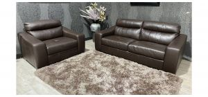 Lucca Brown Leather 3 + Loveseat Sisi Italia Semi-Aniline With Wooden Legs Ex-Display Showroom Model 47497