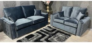 Crystal 3+2 Midnight Grey Luxurious Plush Velvet Fabric Sofa Set With Subtle Button Detailing And Chrome Legs