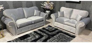 Midas 3+2 Silver Plush Velvet Fabric Sofa Set With Subtle Button Detailing And Chrome Legs