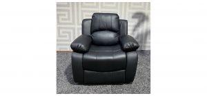 Valencia Black Bonded Leather Armchair Manual Recliner Ex-Display Showroom Model 47500