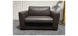 Brown Leather Armchair Sofa Bed Sisi Italia Semi-Aniline With Wooden Legs (Bed Depth 215cm) Ex-Display Showroom Model 47506
