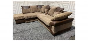 Dino Brown LHF Fabric Corner Sofa With Scatter Back And Storage Footstool Ex-Display Showroom Model 47507