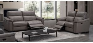Livorno Grey Full Leather Electric Recliner Armchair With USB Ports