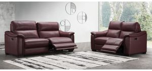 Livorno Ox-Blood Regular Full Leather Sofa Electric Recliner With USB Ports
