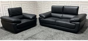 Valencia Black Leather 3 + 1 Sofa Set With Adjustable Headrests - Few Scuffs (see images) Ex-Display Showroom Model 47530