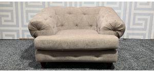 Chesterfield Beige Fabric Armchair With Wooden Legs Ex-Display Showroom Model 47537