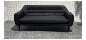 Lulu Black Large Fabric Sofa With Coloured Button Detail And Wooden Legs Ex-Display Showroom Model 47539
