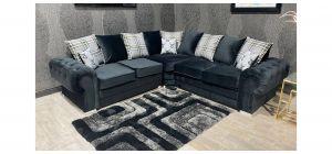 Verona Black 2C2 Fabric Corner Sofa Plush Velvet With Chrome Legs And Scatter Back