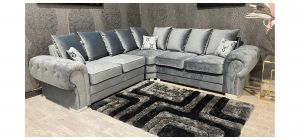 Verona Grey 2C2 Fabric Corner Sofa Plush Velvet With Chrome Legs And Scatter Back Ex-Display Showroom Model 47544