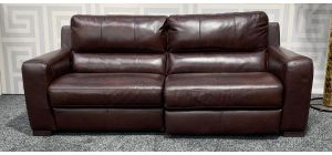 Lucca Oxblood 4 Seater Leather Sofa Electric Recliner Sisi Italia Semi-Aniline With Wooden Legs Ex-Display Showroom Model 47546