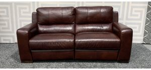 Lucca Oxblood Large Leather Sofa Electric Recliner Sisi Italia Semi-Aniline With Wooden Legs Ex-Display Showroom Model 47547