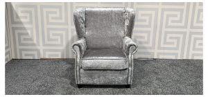 Silver Studded Scroll Arm Fabric Armchair Ex-Display Showroom Model 47548