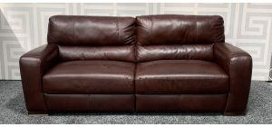 Lucca Oxblood 4 Seater Static Leather Sofa Sisi Italia Semi-Aniline With Wooden Legs Ex-Display Showroom Model 47549