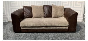 Dylan Brown Large Fabric Sofa With Scatter Back Ex-Display Showroom Model 47550