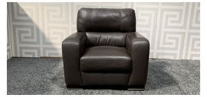 Lucca Dark Brown Leather Armchair Sisi Italia Semi-Aniline With Wooden Legs - Few Scuffs Thread Damage On Seat (see images) Ex-Display Showroom Model 47553