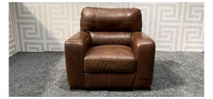Lucca Brown Leather Armchair Sisi Italia Semi-Aniline With Wooden Legs - Few Scuffs (see images) Ex-Display Showroom Model 47554