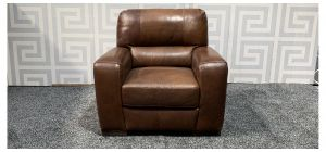 Lucca Brown Leather Armchair Sisi Italia Semi-Aniline With Wooden Legs - Few Scuffs Colour Faded (see images) Ex-Display Showroom Model 47555