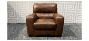 Lucca Brown Leather Armchair Sisi Italia Semi-Aniline With Wooden Legs - Colour Fade Few Scuffs (see images) Ex-Display Showroom Model 47556