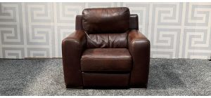Lucca Oxblood Leather Armchair Electric Recliner Sisi Italia Semi-Aniline With Wooden Legs - Few Scuffs Colour Faded (see images) Ex-Display Showroom Model 47557