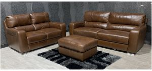 Lucca Brown Leather 4 + 2 + Footstool Sisi Italia Semi-Aniline With Wooden Legs Ex-Display Showroom Model 47558