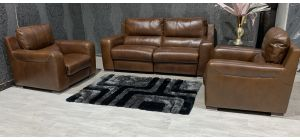 Lucca Brown Static 3 Seater With Two Electric Recliner Armchairs Sisi Italia Semi-Aniline Leather With Wooden Legs Ex-Display Showroom Model 47559