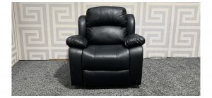 Black Bonded Leather Armchair Manual Recliner Ex-Display Showroom Model 47561