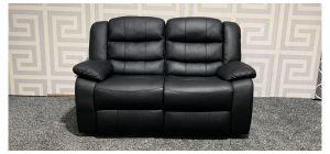 Roma Black Bonded Leather Regular Sofa Manual Recliner - Left Backseat Frame Bent (see images) Ex-Display Showroom Model 47562
